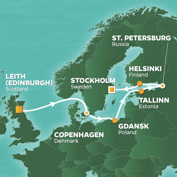 Azamara Cruises | 12-Nights from Edinburgh to Stockholm Cruise Iinerary Map
