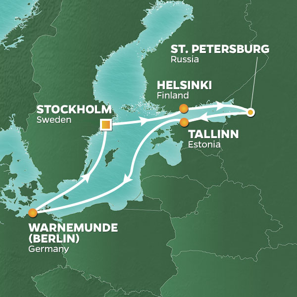 Azamara Cruises | 10-Nights Roundtrip from Stockholm Cruise Iinerary Map
