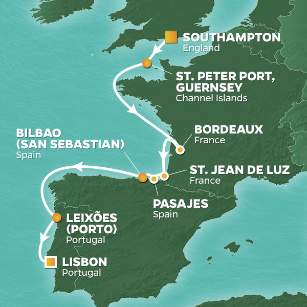 Azamara Cruises | 12-Nights from Southampton to Lisbon Cruise Iinerary Map