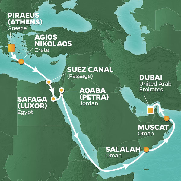 Azamara Cruises | 17-Nights from Athens to Dubai Cruise Iinerary Map
