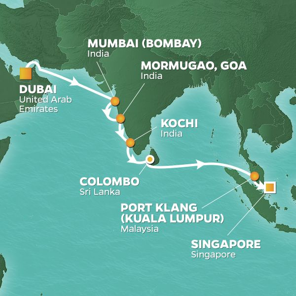 Azamara Cruises | 15-Nights from Dubai to Singapore Cruise Iinerary Map