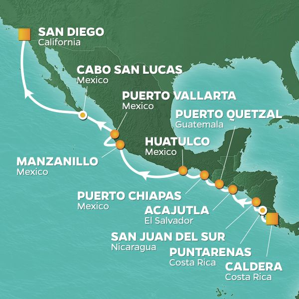 Azamara Cruises | 14-Nights from Caldera to San Diego Cruise Iinerary Map
