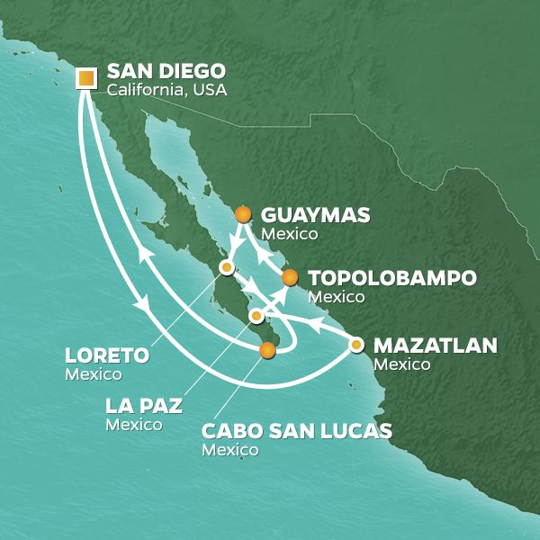 Azamara Cruises | 12-Nights Roundtrip from San Diego Cruise Iinerary Map