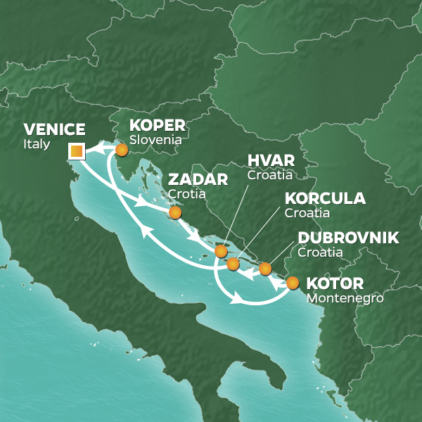 Azamara Cruises | 8-Nights Roundtrip from Venice Cruise Iinerary Map
