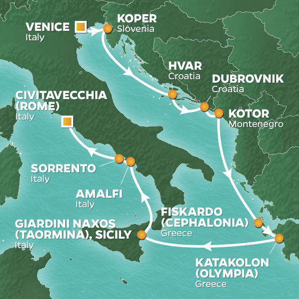 Azamara Cruises | 10-Nights from Venice to Rome Cruise Iinerary Map