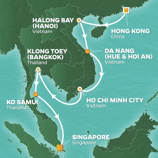 Azamara Cruises | 15-Nights from Hong Kong to Singapore Cruise Iinerary Map