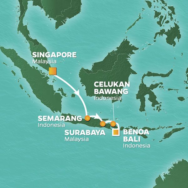 Azamara Cruises | 7-Nights from Singapore to Benoa, Bali Cruise Iinerary Map