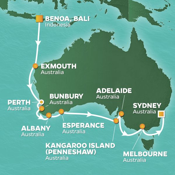 Azamara Cruises | 18-Nights from Benoa, Bali to Sydney -  australia Cruise Iinerary Map