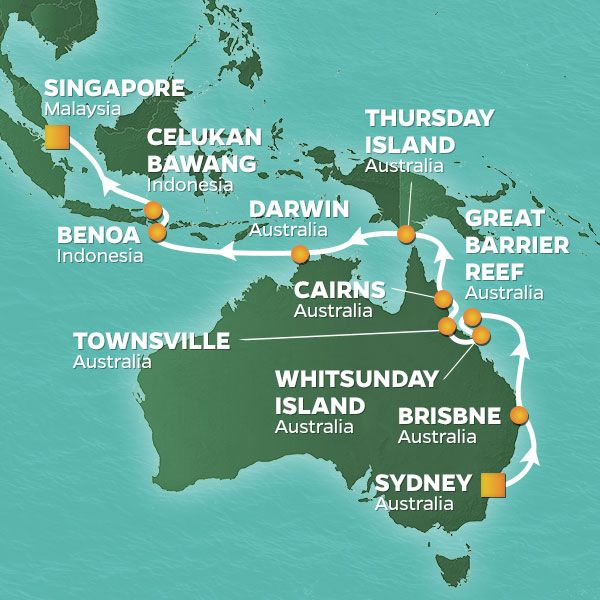 Azamara Cruises | 18-Nights from Sydney -  australia to Singapore Cruise Iinerary Map