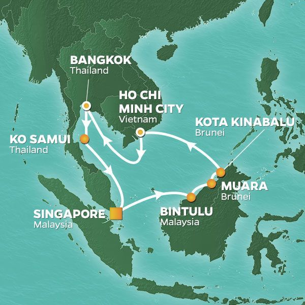 Azamara Cruises | 14-Nights Roundtrip from Singapore Cruise Iinerary Map