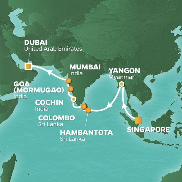 Azamara Cruises | 18-Nights from Singapore to Dubai Cruise Iinerary Map