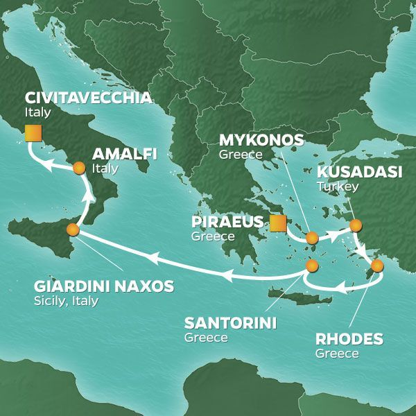 Azamara Cruises | 8-Nights from Athens to Rome Cruise Iinerary Map