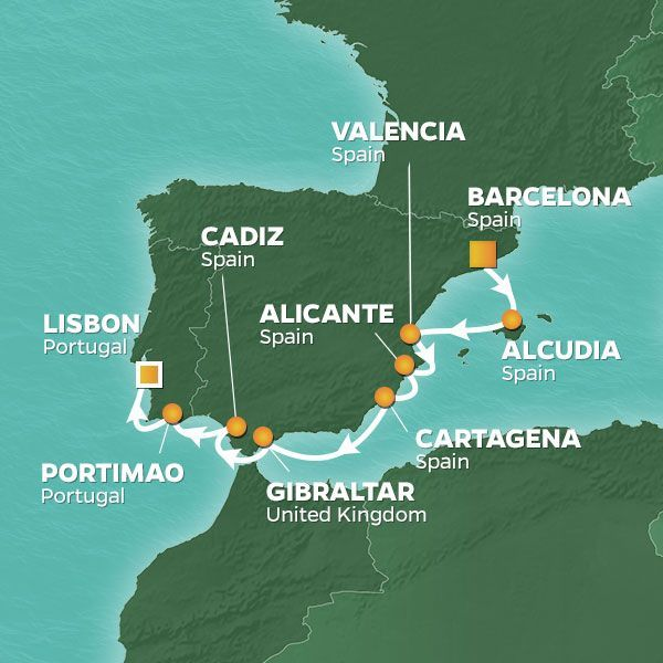 Azamara Cruises | 9-Nights from Barcelona to Lisbon Cruise Iinerary Map