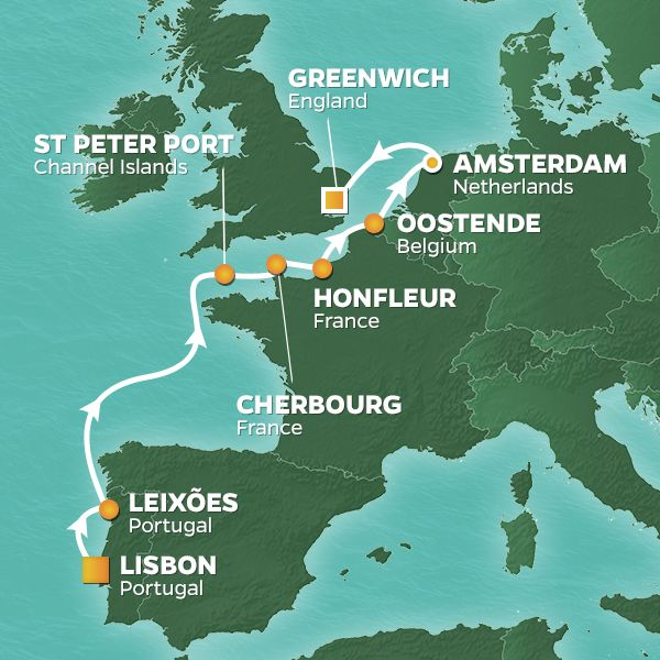 Azamara Cruises | 10-Nights from Lisbon to London Cruise Iinerary Map