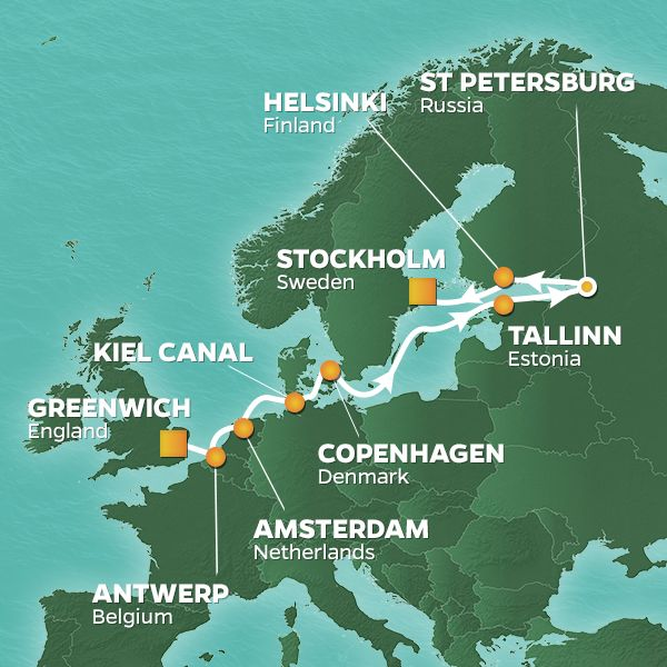 Azamara Cruises | 12-Nights from London to Stockholm Cruise Iinerary Map