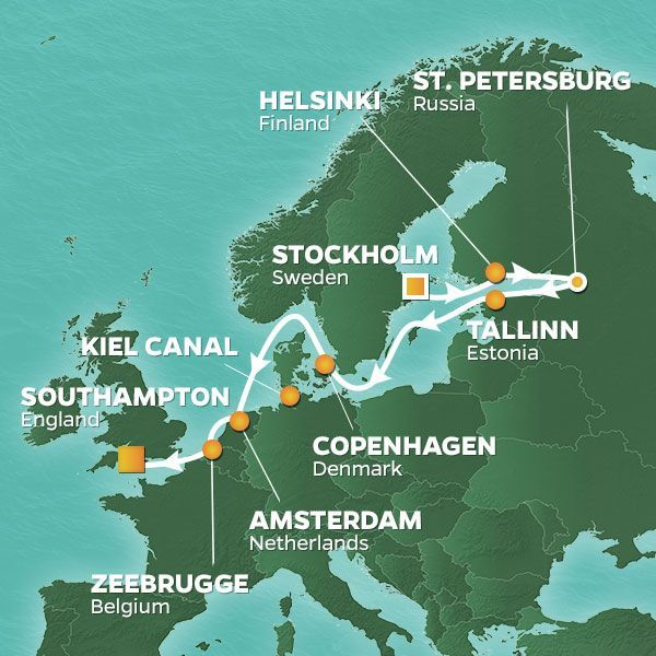 Azamara Cruises | 12-Nights from Stockholm to Southampton Cruise Iinerary Map