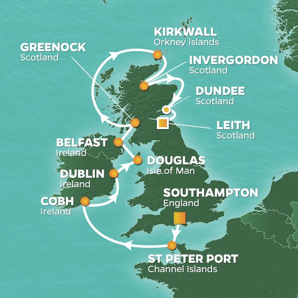 Azamara Cruises | 13-Nights from Southampton to Edinburgh Cruise Iinerary Map