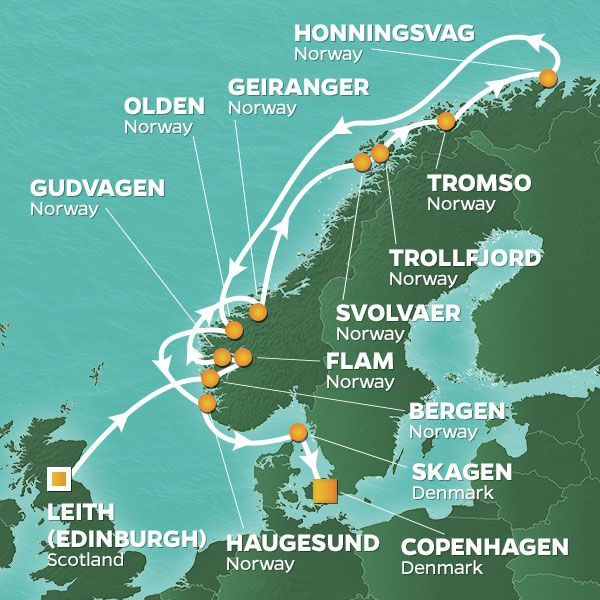 Azamara Cruises | 15-Nights from Edinburgh to Copenhagen Cruise Iinerary Map