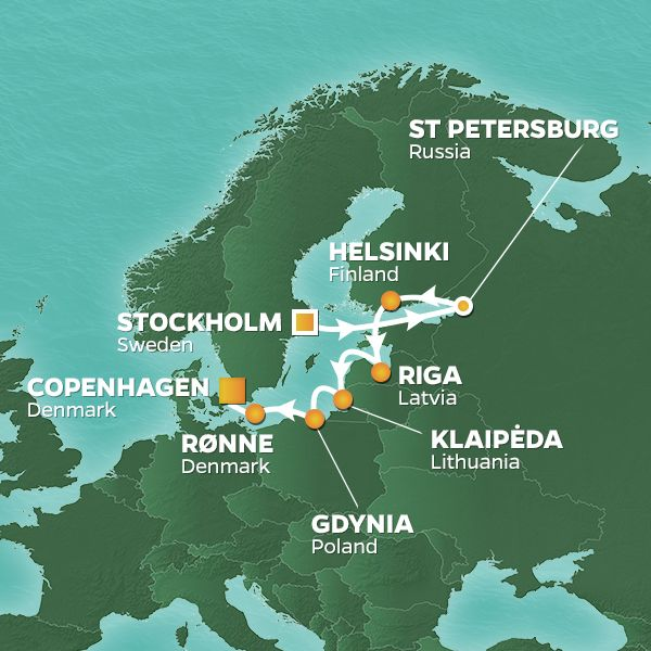 Azamara Cruises | 11-Nights from Stockholm to Copenhagen Cruise Iinerary Map