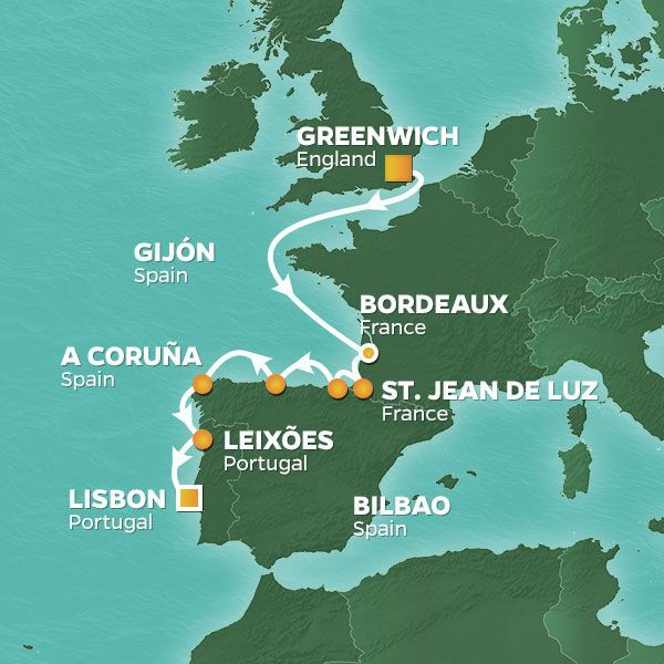 Azamara Cruises | 11-Nights from London to Lisbon Cruise Iinerary Map