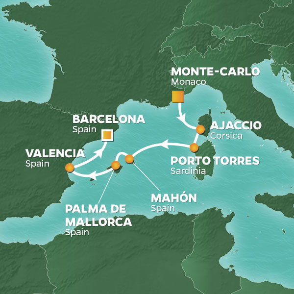 Azamara Cruises | 7-Nights from Monte-Carlo to Barcelona Cruise Iinerary Map