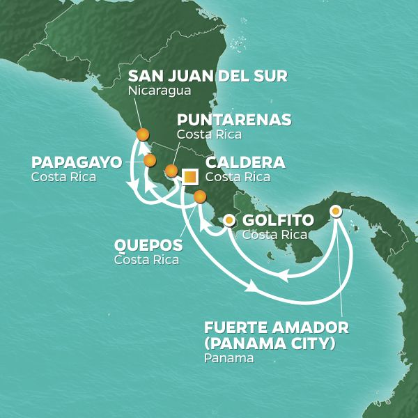 Azamara Cruises | 10-Nights Roundtrip from Caldera -  costa Rica Cruise Iinerary Map