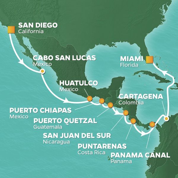 Azamara Cruises | 17-Nights from San Diego -  california to Miami Cruise Iinerary Map