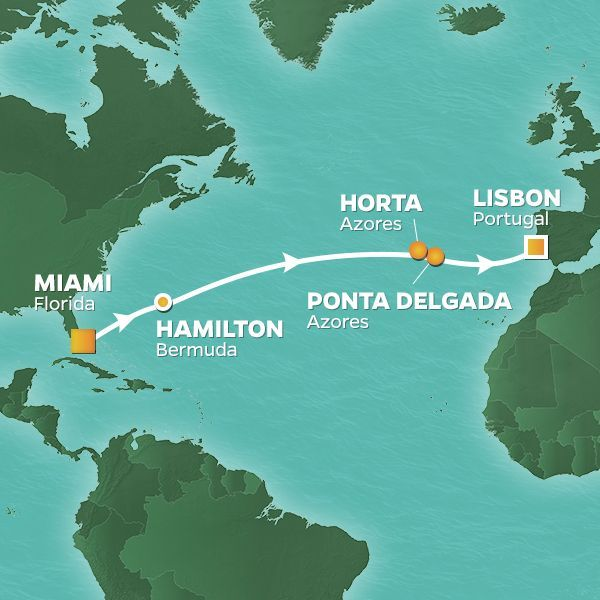 Azamara Cruises | 13-Nights from Miami to Lisbon Cruise Iinerary Map