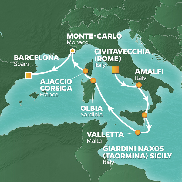 Azamara Cruises | 10-Nights from Rome to Barcelona Cruise Iinerary Map