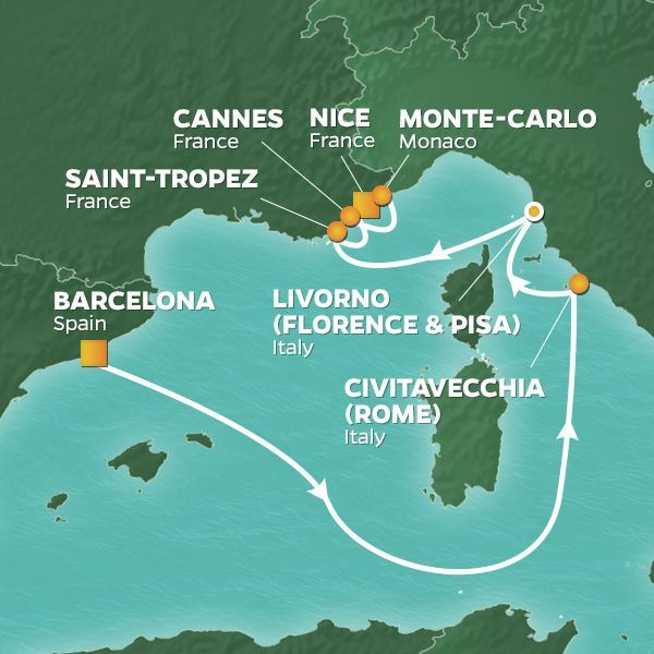 Azamara Cruises | 9-Nights from Barcelona to Nice Cruise Iinerary Map