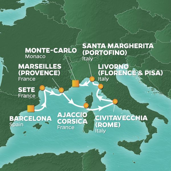 Azamara Cruises | 7-Nights from Barcelona to Monte-Carlo Cruise Iinerary Map