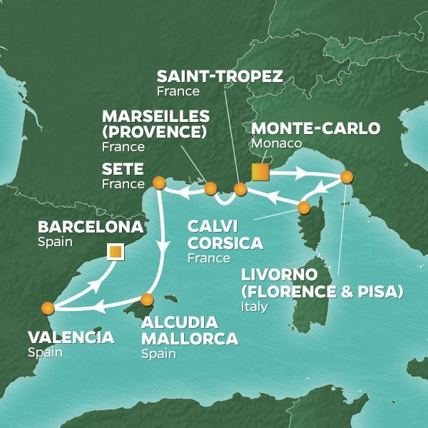 Azamara Cruises | 9-Nights from Monte-Carlo to Barcelona Cruise Iinerary Map