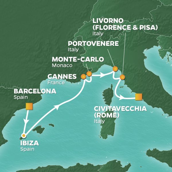 Azamara Cruises | 7-Nights from Barcelona to Rome Cruise Iinerary Map