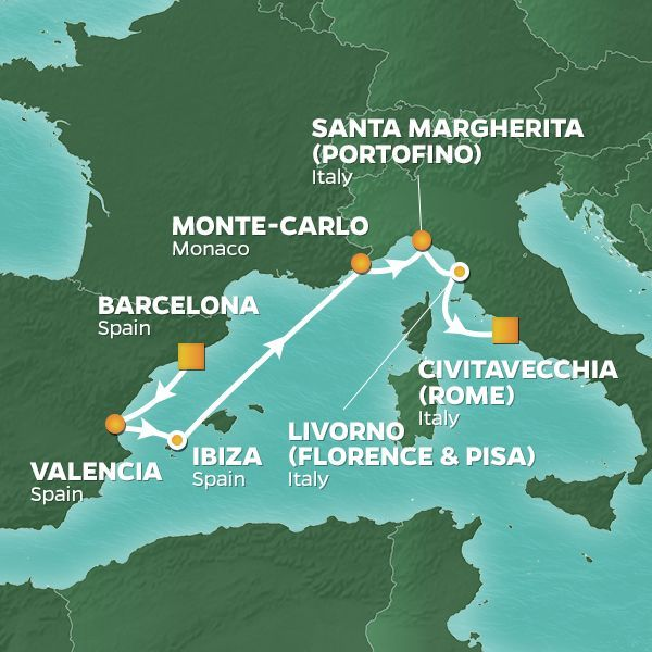 Azamara Cruises | 8-Nights from Barcelona to Rome Cruise Iinerary Map
