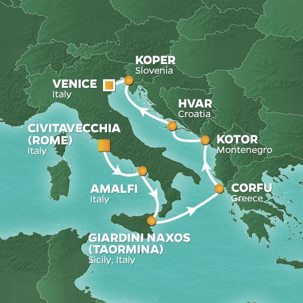 Azamara Cruises | 8-Nights from Rome to Venice Cruise Iinerary Map