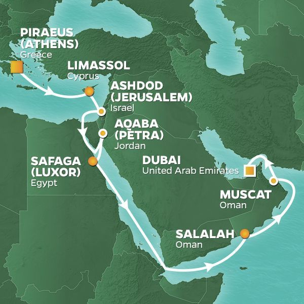 Azamara Cruises | 18-Nights from Athens to Dubai Cruise Iinerary Map