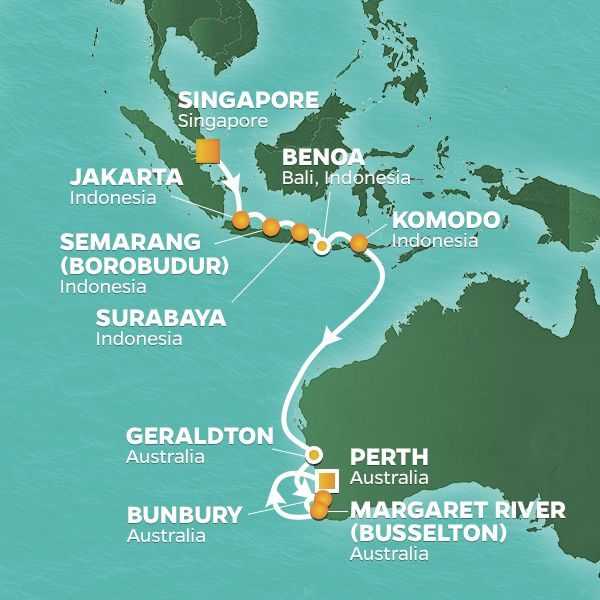 Azamara Cruises | 16-Nights from Singapore to Perth (fremantle) -  australia Cruise Iinerary Map