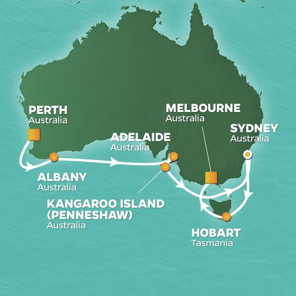 Azamara Cruises | 15-Nights from Perth (fremantle) -  australia to Melbourne -  australia Cruise Iinerary Map