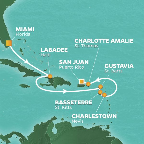 Azamara Cruises | 8-Nights from Miami to San Juan Cruise Iinerary Map