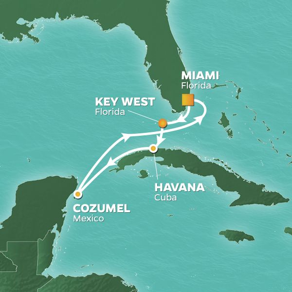 Azamara Cruises | 7-Nights Roundtrip from Miami Cruise Iinerary Map