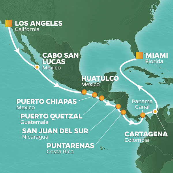 Azamara Cruises | 17-Nights from Los Angeles to Miami Cruise Iinerary Map