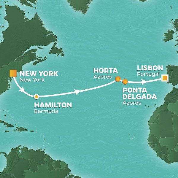 Azamara Cruises | 12-Nights from New York to Lisbon Cruise Iinerary Map