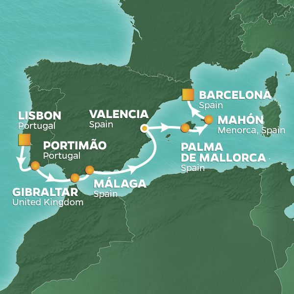 Azamara Cruises | 8-Nights from Lisbon to Barcelona Cruise Iinerary Map