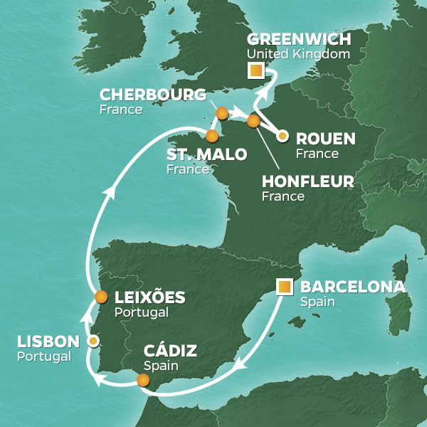 Azamara Cruises | 14-Nights from Barcelona to London Cruise Iinerary Map