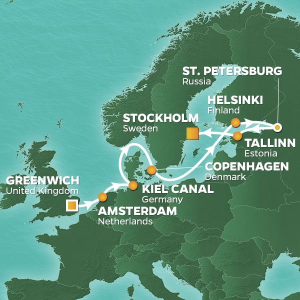 Azamara Cruises | 11-Nights from London to Stockholm Cruise Iinerary Map