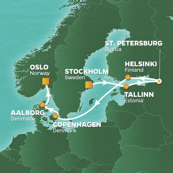 Azamara Cruises | 9-Nights from Stockholm to Oslo Cruise Iinerary Map