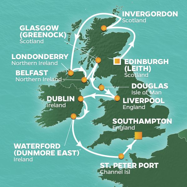 Azamara Cruises | 12-Nights from Edinburgh to London Cruise Iinerary Map