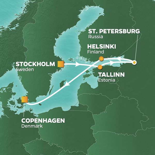 Azamara Cruises | 7-Nights from Stockholm to Copenhagen Cruise Iinerary Map