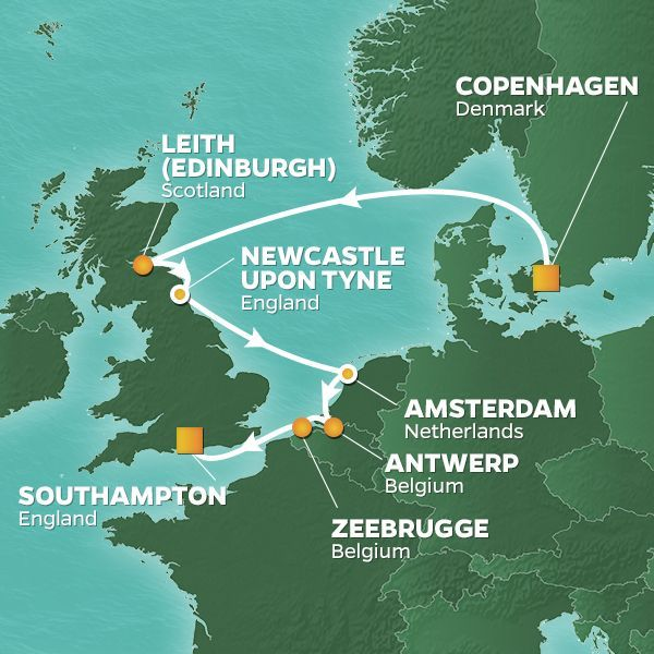 Azamara Cruises | 10-Nights from Copenhagen to Southampton Cruise Iinerary Map