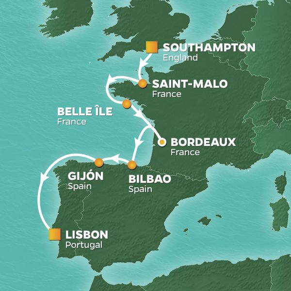Azamara Cruises | 9-Nights from Southampton to Lisbon Cruise Iinerary Map